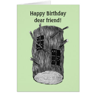 Forest Creatures In Tree Log Custom Text Birthday Card