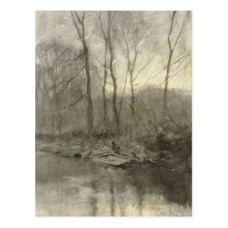Forest edge water, anton mauve postcard