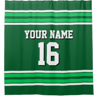 Forest, Emerald Green White Stripes Sports Jersey Shower Curtain