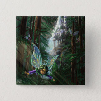 Forest Faires and Waterfall Castle 15 Cm Square Badge