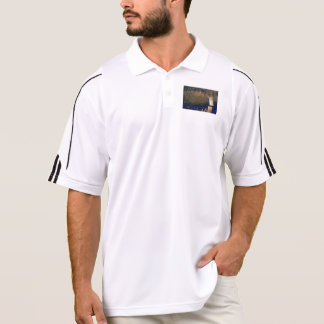 Forest floating on water reservoir polo shirt