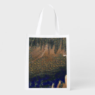 Forest floating on water reservoir reusable grocery bag