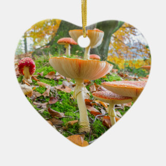 Forest floor with fly agarics and leaves in fall ceramic heart decoration
