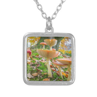Forest floor with fly agarics and leaves in fall silver plated necklace