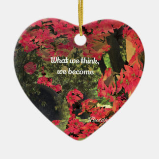 Forest, flowers ,wall  with spititual message ceramic heart decoration