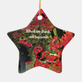 Forest, flowers ,wall  with spititual message ceramic star decoration