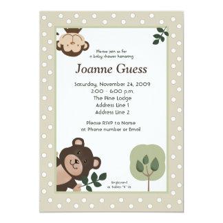 Forest Friends Bear & Monkey Baby Shower 5x7 Card