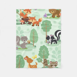Forest Friends Flannel Blanket