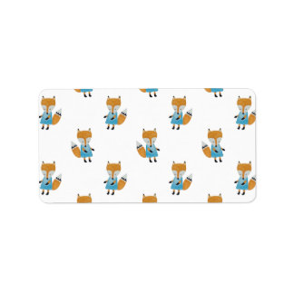 Forest Friends Fox All-Over Repeat Pattern Address Label
