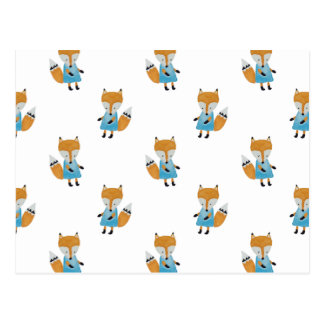 Forest Friends Fox All-Over Repeat Pattern Postcard