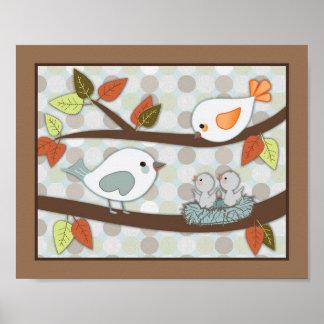 Forest Friends Nursery Art - Birds Poster