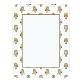 Forest Friends Owl All-Over Repeat Pattern 11 Cm X 14 Cm Invitation Card