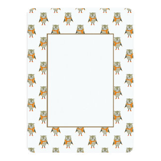 Forest Friends Owl All-Over Repeat Pattern 14 Cm X 19 Cm Invitation Card