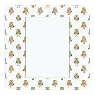 Forest Friends Owl All-Over Repeat Pattern 13 Cm X 13 Cm Square Invitation Card