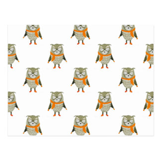 Forest Friends Owl All-Over Repeat Pattern Postcard