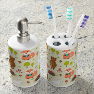 Forest Friends Soap Dispenser And Toothbrush Holder