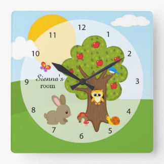 Forest friends square wall clock