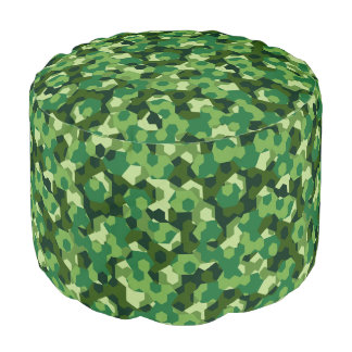 Forest geometric camouflage pouf