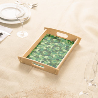 Forest geometric camouflage serving tray