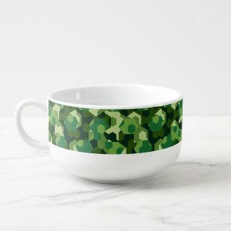 Forest geometric camouflage soup mug