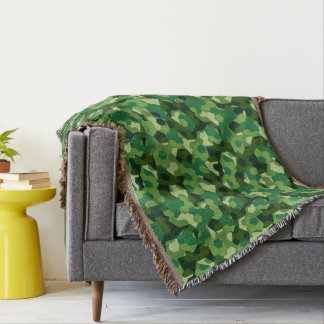 Forest geometric camouflage throw blanket