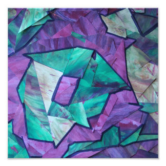 Forest Ghost - abstract art collage green purple Photographic Print