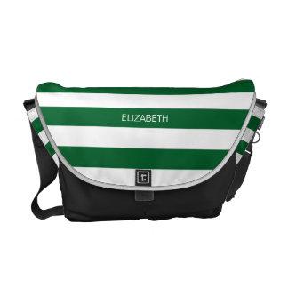 Forest Gr Wht Horiz Preppy Stripe #3 Name Monogram Messenger Bag