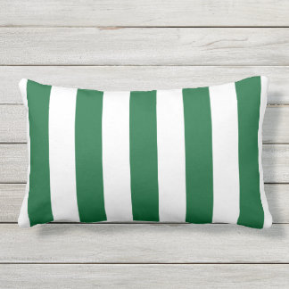 Forest Green and White XL Stripes Pattern Outdoor Cushion