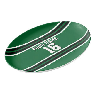 Forest Green Black Team Jersey Custom Number Name Porcelain Serving Platter