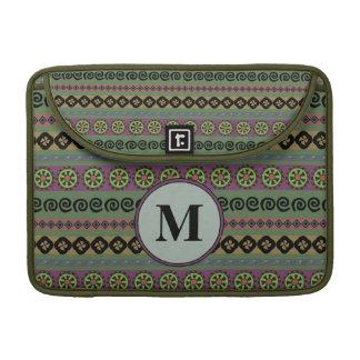 Forest Green Boho Aztec Pattern Monogram Sleeve For MacBooks