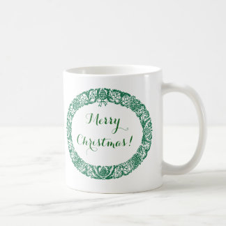 Forest Green Christmas Wreath to Customise Coffee Mug