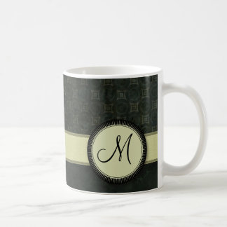 Forest Green Coin Pattern with Monogram Coffee Mug