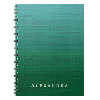 Forest Green Cyan Gradient Med Texture Custom Name Notebooks