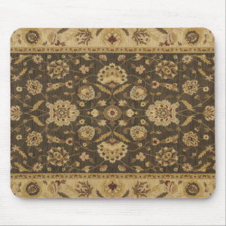 Forest green gold floral tapestry mouse pad