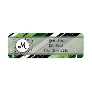 Forest Green Modern-Retro Stripes with Monogram Return Address Label