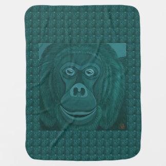 Forest Green Orangutan Baby Blanket