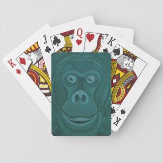 Forest Green Orangutan Playing Cards