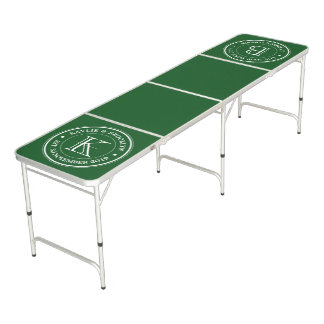 Forest Green Plain Color Simple Logo Monogram Beer Pong Table