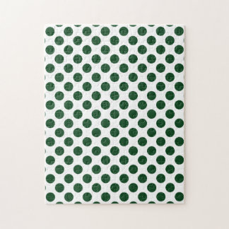 Forest Green Polka Dots Jigsaw Puzzle