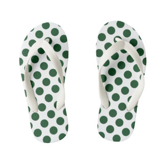 Forest Green Polka Dots Kid's Thongs