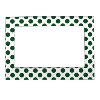 Forest Green Polka Dots Magnetic Picture Frame