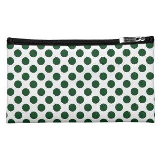Forest Green Polka Dots Makeup Bag