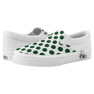 Forest Green Polka Dots Printed Shoes