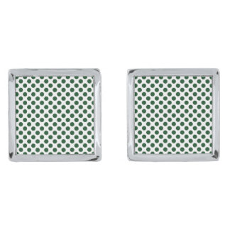 Forest Green Polka Dots Silver Finish Cuff Links