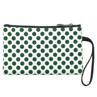 Forest Green Polka Dots Suede Wristlet