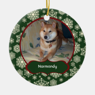 Forest Green Snowflakes Personalized Photo Round Ceramic Ornament