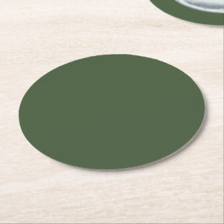 Forest Green Solid Colour Round Paper Coaster