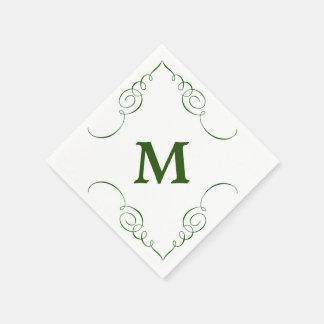Forest Green Swirl Border Monogram All Occasion Paper Napkins