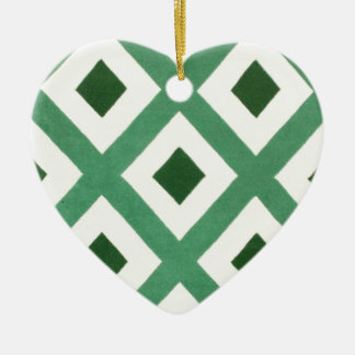 Forest Green Triangle Pattern Ceramic Heart Decoration