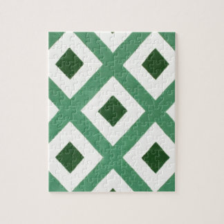 Forest Green Triangle Pattern Jigsaw Puzzle